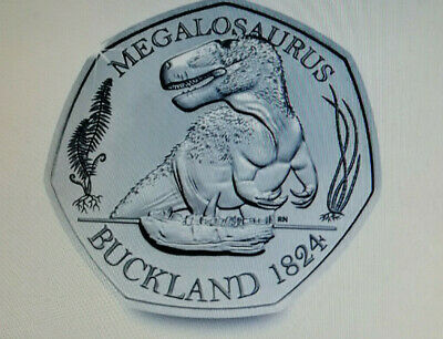 DINOSAUR 50p BU Coin  MEGALOSAURUS ROYAL MINT NEW RELEASE IN HAND NOW FREE POST