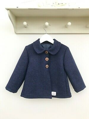 Harris Tweed Children's Navy Blue Handmade coat  Age 3 years Unisex boy girl pea