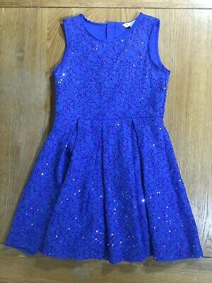 Girls Yumi Girl Sparkly Sequinned blue party dress age 9/10yrs Excellent Cond