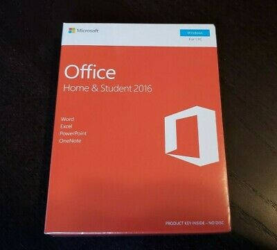 Microsoft Office Home and Student 2016 Windows English Word Excel 79G-04589 NEW