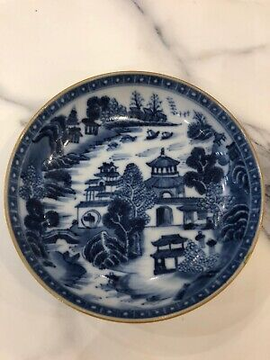 Antique Late 18th Century Qing Chinese Export Porcelain Blue and White Saucer
