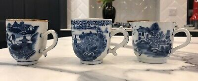 ANTIQUE 18thC. CHINESE EXPORT QIANLONG BLUE AND WHITE PORCELAIN PAGODA TEA CUP