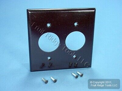 "New Leviton Brown 2-Gang 1.406"" Receptacle Wall Plate Outlet Plastic Cover 85052"
