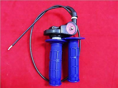 New 1/4 Turn Quick Action Throttle, Blue Grips & Cable For Pit Bike.