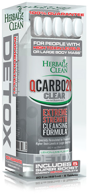 *Two* Herbal Clean QCARBO 20oz CLEAR Extreme Detox +5Pills LEMON - LIME FLAVOR