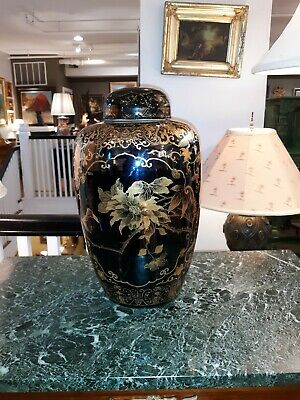 Large Antique Chinese Black Porcelain Ceramic Jar w/ Gold Decoration