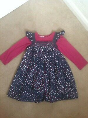 Lovely Girls Monsoon Blue & Burgandy Long Sleeved Spotted Dress - Age 5-6 Years