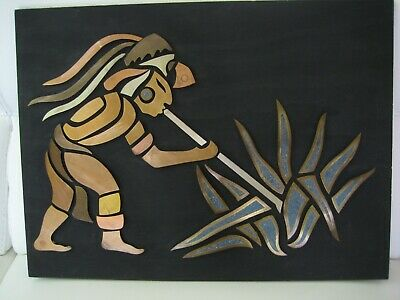Large Vintage Mexican Mixed Metals Mid Century Modern Wall Plaque Sculpture