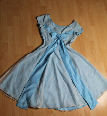 Original Vintage 1950s Evening Dress, Blue Floaty Floral With Bow Detail
