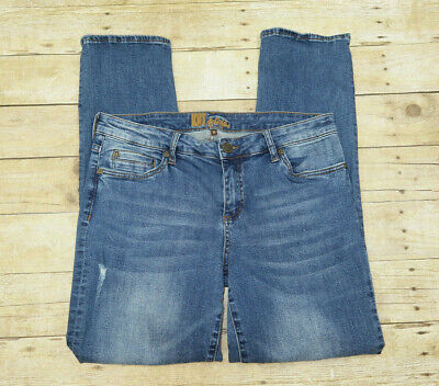 KUT from the Kloth Womens 10 Stretch Blue Jeans Factory Distressed Slim whiskers