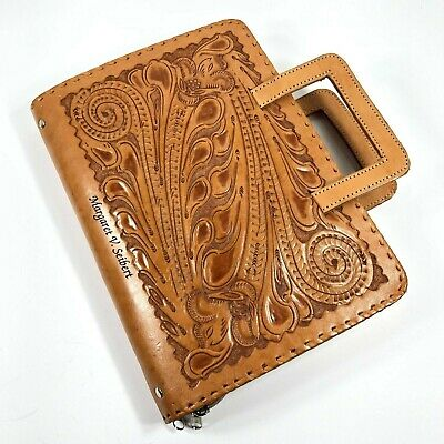 Tooled Leather Bible Book Cover with Name Zip Closure Handles Inside Pockets