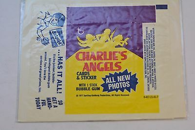 1977 Topps CHARLIES ANGELS Cards & sticker Wax Pack Wrapper with Bazooka ad