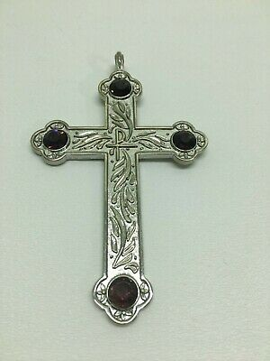 Pectoral Cross For A Bishop + Silver With Purple Gems + Episcopal Crucifix