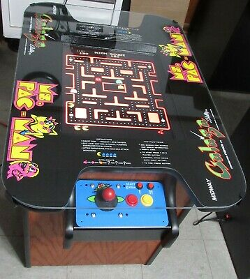 Classic red oak cocktail table arcade game Ms Pacman Galaga Pacman
