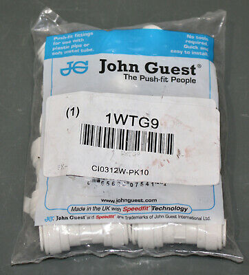 "(10) John Guest Union Tee PP0212W, 3/8"" Tube, White, 150 PSI, Polypropylene"