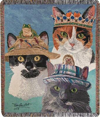 Cats In Hats Tapestry Throw