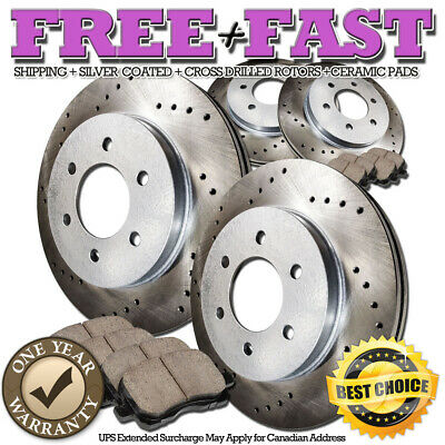 C0901 FRONT+REAR Drilled Brake Rotors Ceramic Pads FOR 2005 2006 F-150 4WD 6Lug
