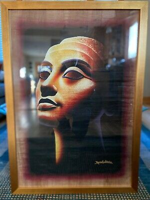 Monsef Labib Egyptian Authentic Papyrus Painting Of Queen Nefertiti