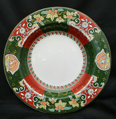 Antique Ashworth Ironstone Rimmed Soup Bowl Rust Green Unk Pattern 1862-1890