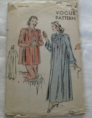 """Vintage Vogue Pattern #5447 - Negligee """"Easy to Make"""" Size Small"""