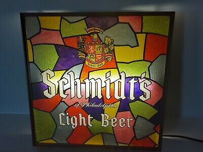 Schmidt's Philadelphia Beer Lighted Plastic Stained Glass Sign Norristown PA &OH