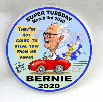 "BERNIE SANDERS president SUPER TUESDAY March 2020 primary 3"" Pinback BUTTON Ltd"
