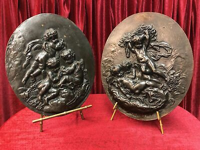 Pair of French Large Oval Bronze Plaques Picturing Putti  & Children
