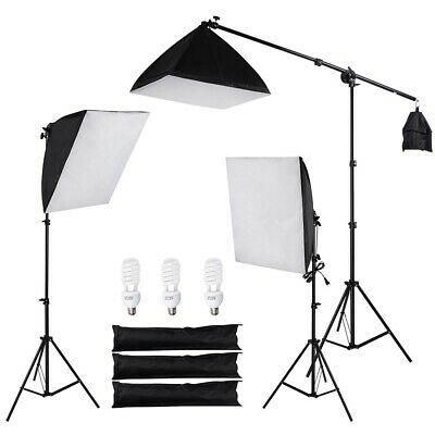 Photo Studio Photography 3 Lighting Softbox Boom  Stand Continuous Light Kit Bag