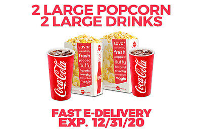 AMC Theaters 2 LARGE POPCORN & 2 LARGE DRINKS--Fast E-Delivery Expires  12/31/20