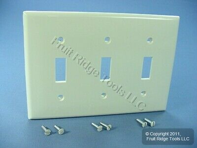 Leviton UNBREAKABLE Lt Almond 3-Gang Light Switch Cover Plate Double Wallplate