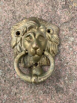 ANTIQUE VINTAGE RARE SMALL BRASS LIONS HEAD DOOR KNOCKER 1900's MID CENTURY