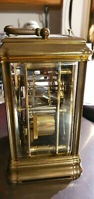 Antique French L' Epee carriage clock. Day, Date & Alarm