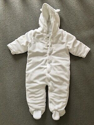 NEXT Baby Girls Boys All-In-One Snowsuit Coat 6-9 Months White VGC