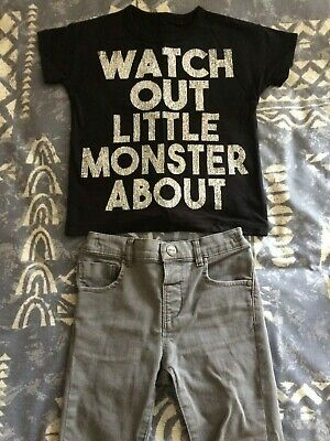 Kids/Boys Next Skinny Jeans And T Shirt 3-4 + 4-5 Years