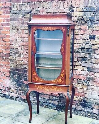 Antique French Marquetry Inlaid Display Cabinet