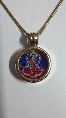 Handmade Glass Framed Brass Hindu Deity Goddess Kali Maa Photo Pendant & Chain