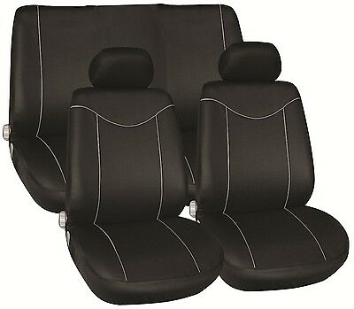 Universal 8 piece Car Seat cover Set Black/Grey piping