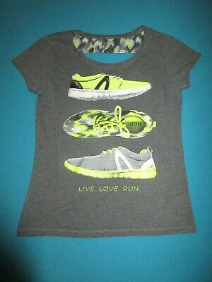 JUSTICE Girls Gray Yellow Short Sleeve Shirt Sneakers Shoes Size 14