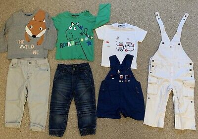 Bundle Of Boys Clothes Jeans Tops Dungarees Trousers 12-18 Months