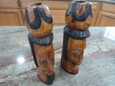 "Vintage Hand Carved Wood Candle Holders, His Her Pair. 1"" Candle"