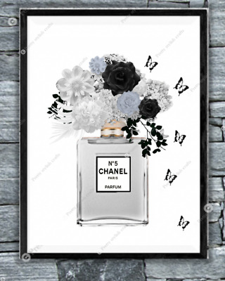 Coco chanel Grey Black wall print art home decor perfume picture poster UK Gift