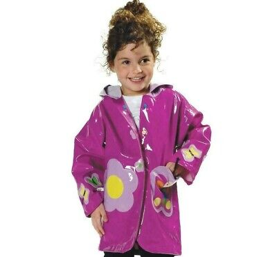 Kidorable Butterfly Raincoat Children Kids Girls Purple Waterproof Rain Mac Coat