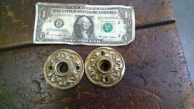 2 SOLID  BRASS Round Rosette Door Knob Cover Plates Vintage