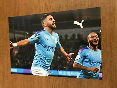 Manchester City Fc Riyad Mahrez Man City Etihad 12X8 Hand Signed Photo