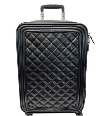 """Black Quilted Vegan Leather 20"""" Travel Carry On Suitcase Spinner Wheels"""