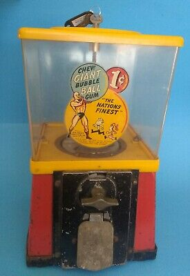 Vintage 1 cent gumball machine with original GIANT BUBBLE BALL decal and keys.