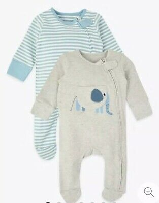 Marks And Spencer 2pk Elephant And Stripe Sleepsuits. Size Newborn.