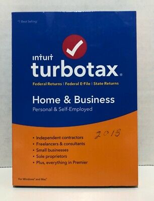 2018 Intuit Turbotax Home & Business Federal Returns, Fed E-File, State Returns