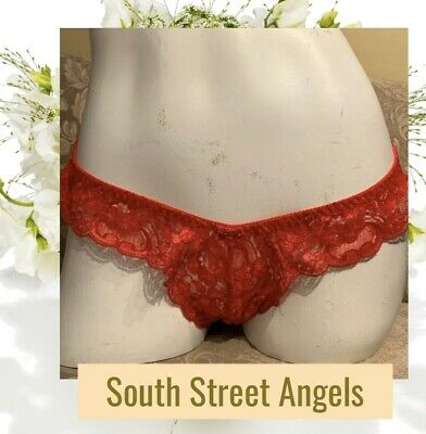 Christian Dior Intimates ~ Red ~ Vintage Low-Rise Lace Thong Panties ~ One Size