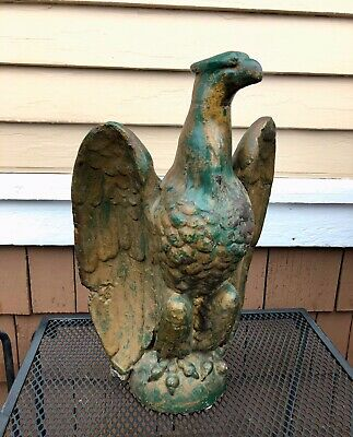 Antique Architectural Salvage Large Cast Iron Eagle Finial 1910-20, Orig. Paint